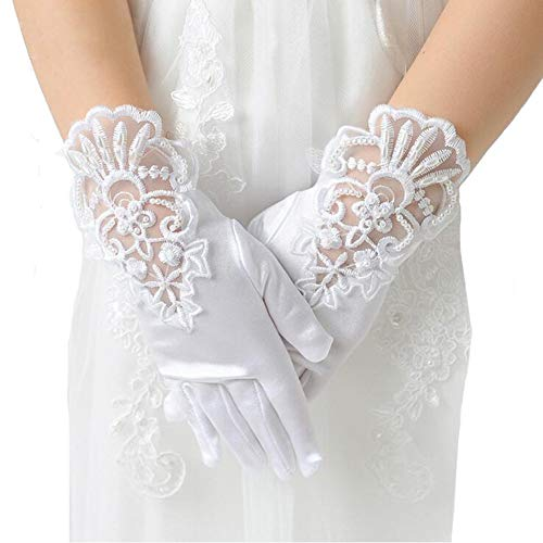 Girl's White Lace Beading Holy First Communion Christenings Princesses Dress up Gloves Size -