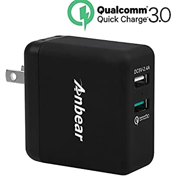 Quick Charge 3.0 Wall Charger,Anbear QC 3.0 Dual USB Port 30W for Galaxy S8/S7/S6/edge/edge+,Note 8/5/4/2,LG G6/G5/G4,HTC One M8/M9/A9, Nexus 6, Pixel,iPhone 7/8, iPad
