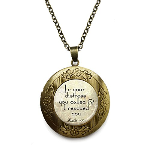 Bible Locket Pendant - Vintage Bronze Tone Locket Picture Pendant Necklace Christian Scripture Jewelry Bible Quote Verse Included Free Brass Chain Gifts Personalized