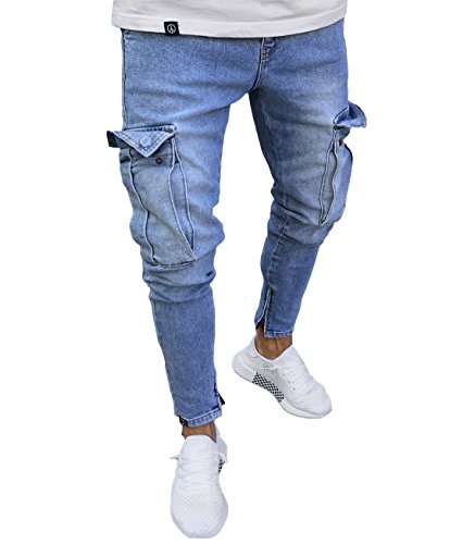 Men's Ripped Skinny Distressed Destroyed Straight Fit Side Striped Zipper Jeans with Holes (L=US M, Blue (with ()
