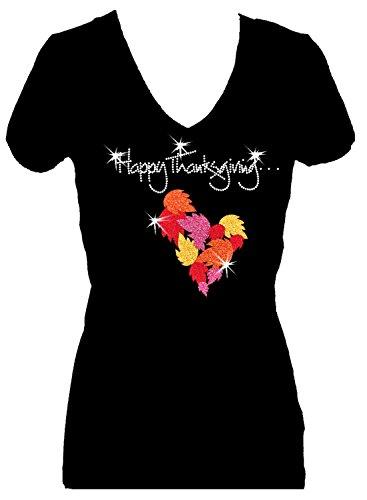 Happy Thanksgiving Holiday Rhinestone V Neck Short Sleeve Tee Shirt (m) (2x) (Happy Trouble Wedding)