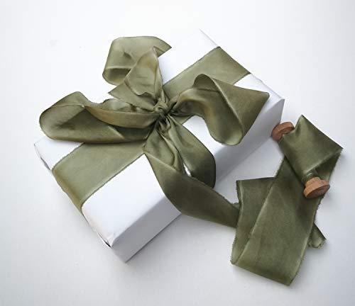 Olive Green Silk Ribbon, Hand-dyed silk ribbon