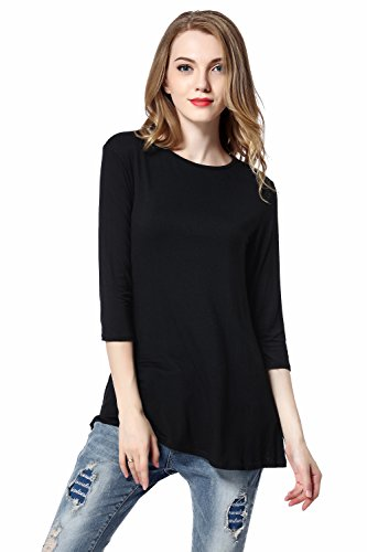 Maternity T-shirt Sweatshirt (HBY Women's Long Flowy Elbow Sleeve Jersey Tunic/ Crew Neck T Shirt)