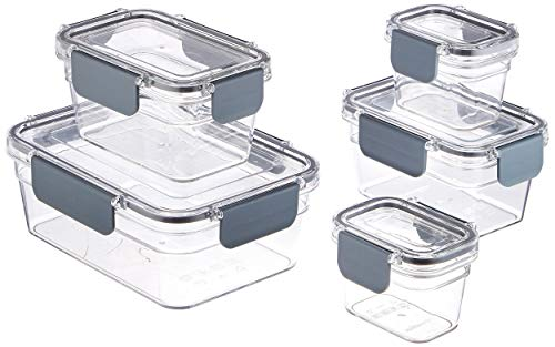 (AmazonBasics Tritan Locking Food Storage Container, 10-Piece)