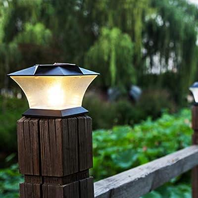 Poste de luces solares – Luz de poste exterior para valla o patio ...