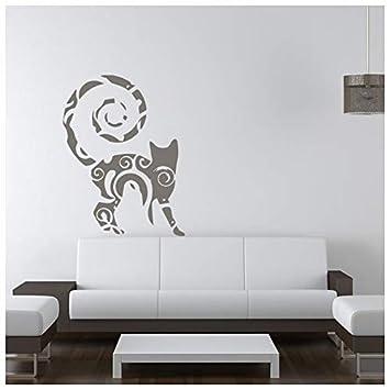 azutura Gato Modelado Remolino Felino Gatos de casa Vinilos Animales domésticos decoración Art Pegatinas Disponible en 5 tamaños y 25 Colores Mediano Negro: ...