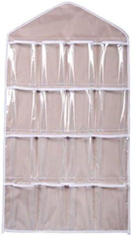 Gespout Oxford-Tuch Transparent Supertech Schmuck Organizer Hängend Lagerung Organizer 16 Tasche Doppelseiten Hängeaufbewahrung Platzsparende Haushalts Zubehör Schrank