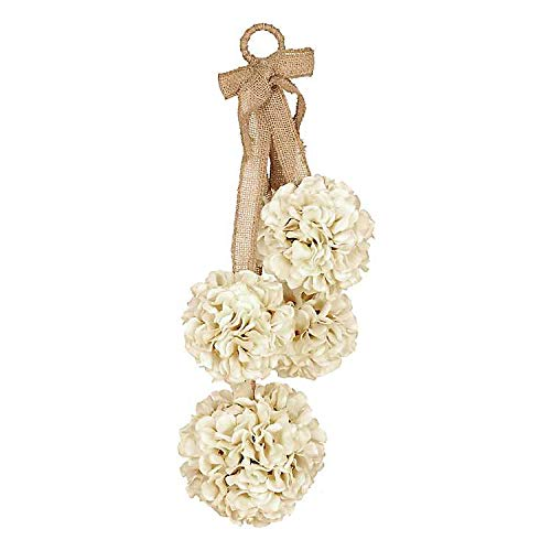 Ka Home 23 Inch Cream Hydrangea Hanging Door Decor | Burlap Hanger Included to Decorate a Covered Front Door or an Indoor Decoration to Accent Any Room