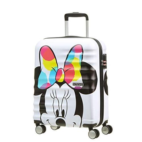 41sbg8atJmL. SS500 Cintas cruzadas, separador con cremallera y bolsillo que facilitan organizar el equipaje Diseño moderno y colorido de Mickey y Minnie Superficie texturizada que protege de los arañazos
