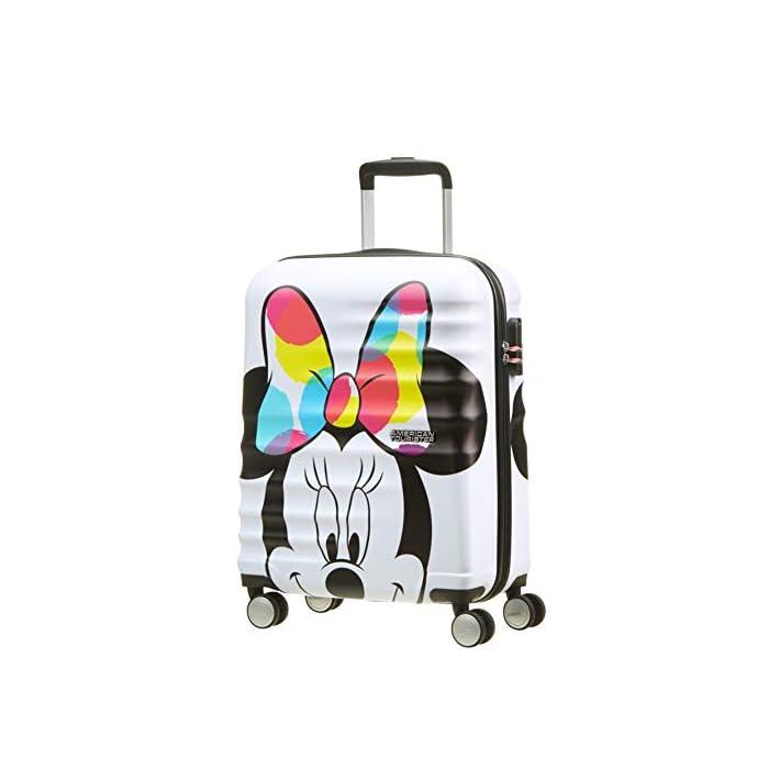 41sbg8atJmL Cintas cruzadas, separador con cremallera y bolsillo que facilitan organizar el equipaje Diseño moderno y colorido de Mickey y Minnie Superficie texturizada que protege de los arañazos