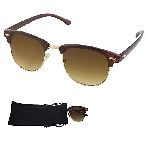 Clubmaster Sunglasses - Brown Plastic and Metal Frame With Brown Gradient Lenses - UV Ray Protected Shades For Men & Women - By Optix 55