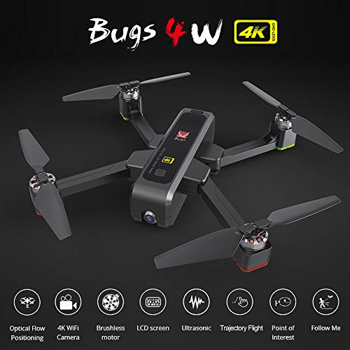 Cigooxm B4W Drone Bugs 4W Brushless RC Drone with Camera 4K 5G WiFi FPV GPS Ultrasonic Optical Flow Positioning Drone Foldable Quadcopter Follow Me Drone with 3 Battery Handbag