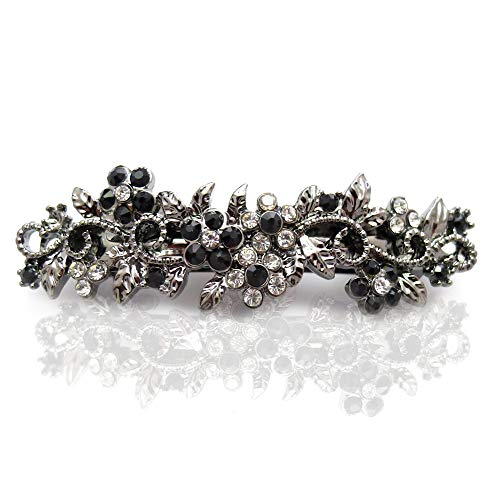 Vintage Metal Barrette for Women by Lorian Hair Design | Small Decorative Hair Jewelry Clip with Rhinestone Flowers (Silver/Black)