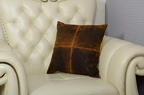 (Genuine Leather Cushion Cover 18x18 by Nayra)