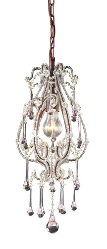 Elk 12013/1RS Opulence 1-Light Pendant In Rust And Rose Crystals