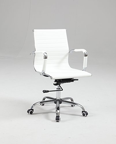 Milan Faith White Upholstered Back Adjustable Office Chair by Milan