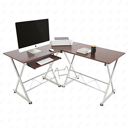 Mecor Computer Desk Corner Laptop Table Workstation Home Office Furniture (Wood L-Shaped)