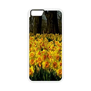 Bloomingbluerose Daffodil & Flower IPhone 6 Case Sea Of Yellow Daffodils Cheap For Girls, Iphone 6 Case Luxury Cheap For Girls [White]