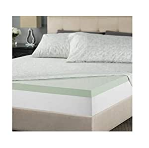zinus 2 inch green tea memory foam mattress topper queen home kitchen. Black Bedroom Furniture Sets. Home Design Ideas