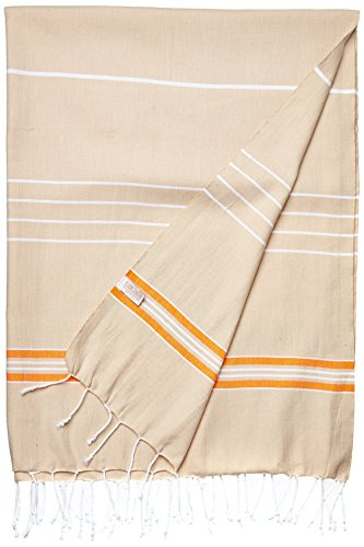 Paradise Series Turkish Bath Towels - Traditional Peshtemal Design for Bathrooms, Beach, Sauna - 100% Natural Cotton, Ultra-Soft, Fast-Drying, Absorbent - Warm, Rich Colors with Stripes Beige Orange - Natural Beige Stripes
