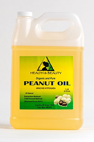 Peanut Oil Refined Organic Carrier Cold Pressed 100% Pure 128 oz, 7 LB, 1 -