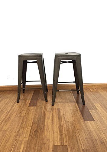 BTEXPERT 24-inch Industrial stacking Tabouret Metal Vintage Antique Copper Rustic Distressed Dining room Counter Bar Stool Modern Set of 4 barstool