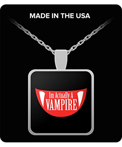 Funny Im Actually A Vampire Halloween Meme Funny Gift Necklace ()