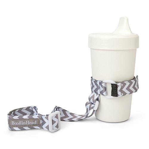 BooginHead Baby SippiGrip Sippy Cup, Bottle Holder, High Chair, Car Seat, Universal Strap, Girl, Boy, Gender Neutral, Gray Chevron