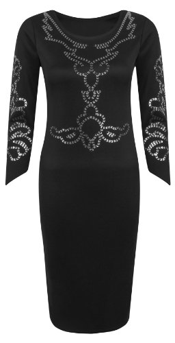 Womens 3/4 Sleeve Kim Kardashian Floral Foil Print Stretch Bodycon Midi Dress - BLACK - UK 10 - (95% Polyester and 5% Elastane)