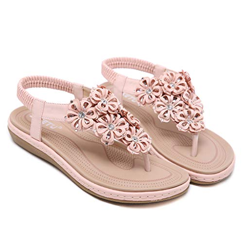 Rose Casual Beach ✿ Plates Fashion Roma Ladies Femme Floral Strass Sandales Summer Chaussures gz7WnIf4