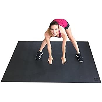 """Large Exercise Mat 78"""" Long x 48"""" Wide (6.5'x4') x 7mm Thick. Includes A Storage Bag and Storage Straps. Perfect For Cardio, Plyometric, MMA, & Aerobic Workouts. Square36"""