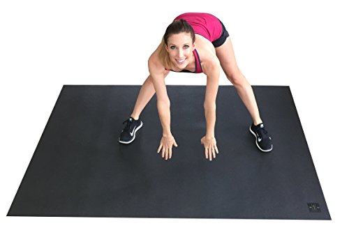 Large Exercise Mat 78'' Long x 48'' Wide (6.5'x4') x 7mm Thick. Includes A Storage Bag and Storage Straps. Perfect For Cardio, Plyometric, MMA, & Aerobic Workouts. Square36 by Square36