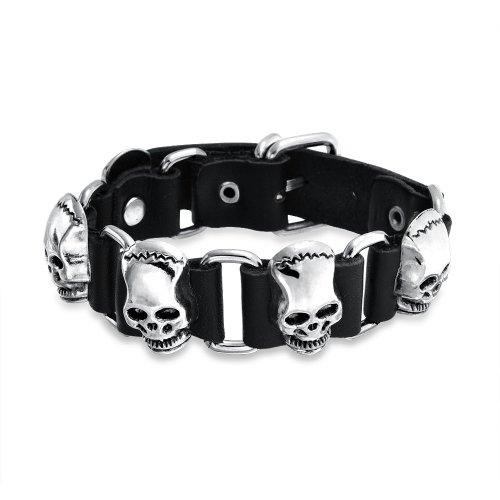 (Skull Heads Genuine Black Leather Studded Rivet Stainless Steel Cuff Bracelet for Men Goth Bikers Belt Buckle)