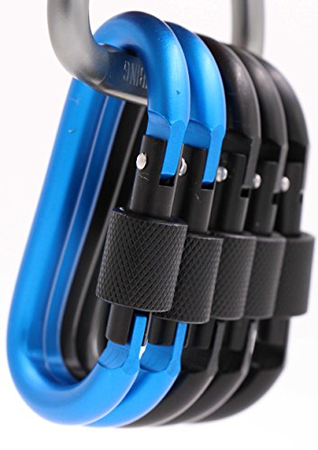 Aluminum Clip (LeBeila Carabiner Aluminum Screw Locking Spring Clip Hook Outdoor D Shaped Keychain Buckle for Camping, Hiking, Fishing - 5 Carabiners (Black&Blue))