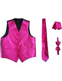 Men's 4pc Set Solid Tuxedo Vest Vest / Tie / Hanky / Bow Tie