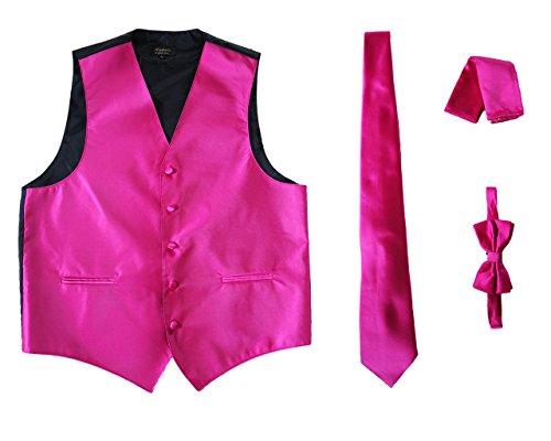 Amanti - Men's 4pc Set Solid Tuxedo Vest Vest / Tie / Hanky / Bow Tie (L, Fushia)