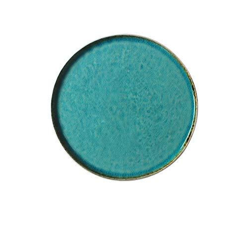 XQJDD Ceramic Blue Ice Crack Flat Disc Shaped Salad Bowl Cup Hotel Restaurant Tableware Flat Plate 22x1.5cm