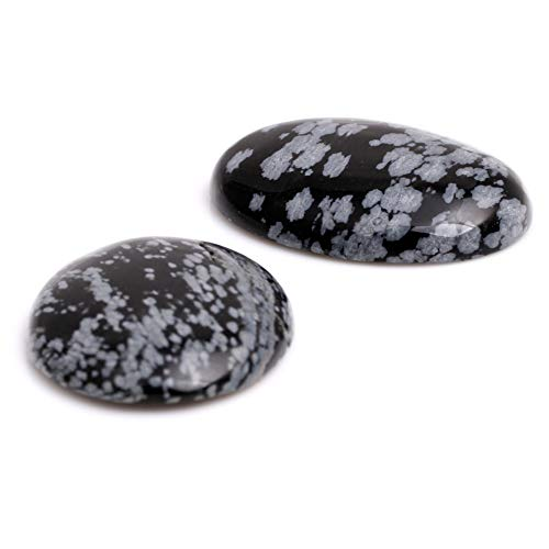 MARIE A FORTUNEL CAB Cabochon Snowflake Obsidian Gemstone Flat Back Dome Beads for Charms Jewelry Ring Pendant Making 30x40mm Oval 5Pcs (No Holes)