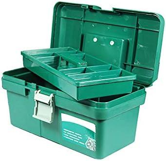 16インチのプラスチック製工具箱、消費者用保管庫、職人用工具箱、取り外し可能な工具トレイ、ロック蓋、追加の保管庫