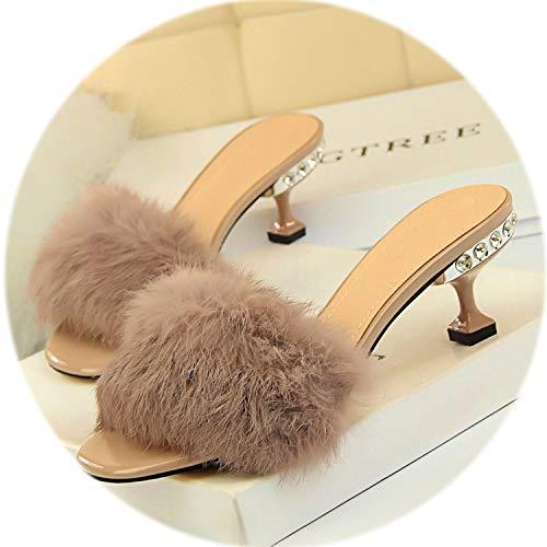 (2019 Elegant Crystal High Heels 6cm Shoes Summer Ladies Faux Fur Open Toe Outside Slippers Woman)