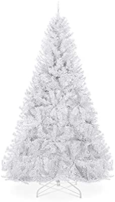 Amazon Com Best Choice Products 6ft Premium Hinged Artificial Holiday Christmas Pine Tree For Home Office Party Decoration W 1 000 Branch Tips Easy Assembly Metal Hinges Foldable Base White Home