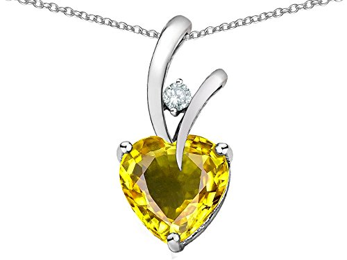 Star K Heart Shape 8mm Simulated Citrine Endless Love Pendant Necklace Sterling Silver ()