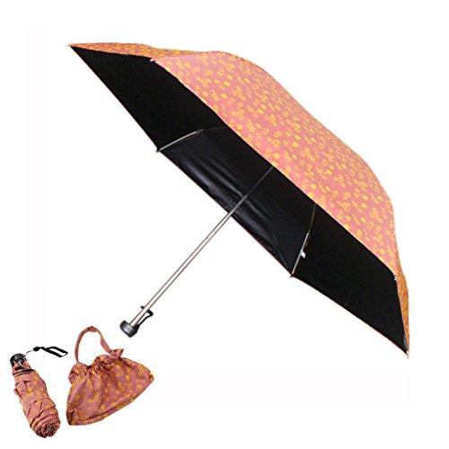 FakeFace Ultraslim Lightweight Five-Folding Small Princess Umbrella Compact Black Vinyl Coating UPF>50 Anti-UV Travel Mini Sun Rain Umbrella for Women Ladies (Pretty Parasol)