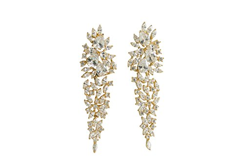 Cleo Classic Designs Wedding Clear Cubic Zircon Crystal Rhodium Waterfall Pierced Dangle Bridesmaid Bridal Earrings (yellow gold plated)