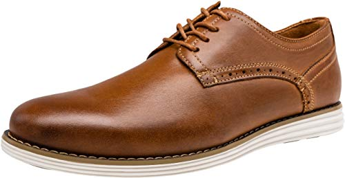 Tan Casual Oxford - VOSTEY Men's Dress Shoes Leather Plain Toe Oxford Business Shoes (9.5,Yellow Brown-a)