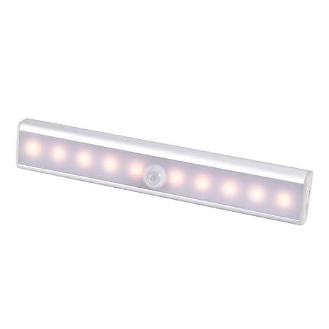 WZTO Luz Armario, Luz del gabinete 10 LED USB Recargable Barra de Luz Làmpara con