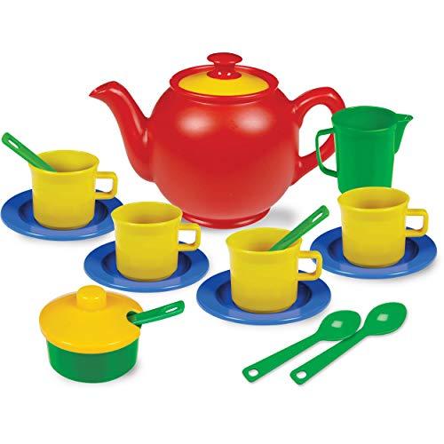 Kidzlane Play Tea Set, 15+ Durable Plastic Pieces, Safe and BPA Free for Childrens Tea Party and Fun -