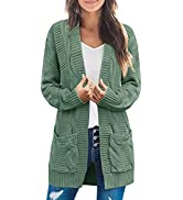 TECREW Womens Casual Long Sleeve Cable Knit Sweater Cardigan Loose Open Front Outwear