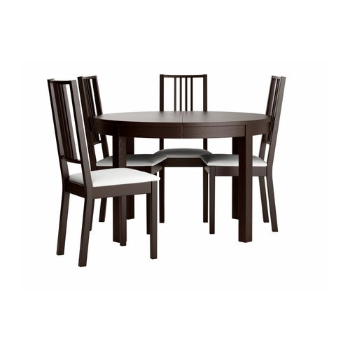 Ikea Table and 4 chairs, brown-black, Gobo white 82018.261717.302