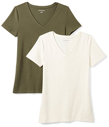 Amazon Essentials Women's 2-Pack Classic-Fit Short-Sleeve V-Neck T-Shirt, Olive/Oatmeal Heather, XX-Large